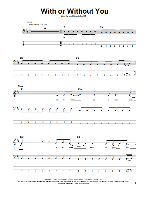 Tablature guitare With Or Without You de U2 - Tablature Basse