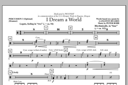 I Dream A World - Percussion 3 (Choir Instrumental Pak)