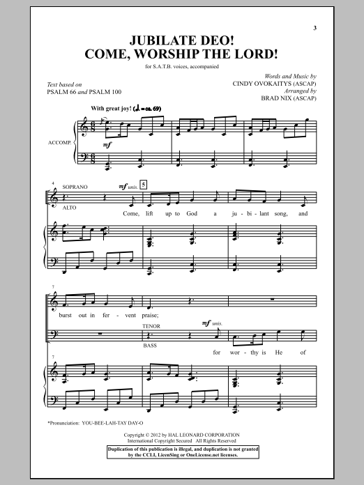 Partition chorale Jubilate Deo! Come Worship The Lord! de Brad Nix - SATB