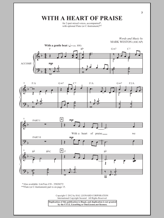 With A Heart Of Praise Sheet Music