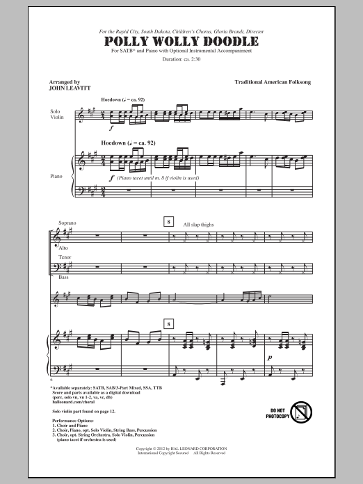 Polly Wolly Doodle: Polly Wolly Doodle (arr. John Leavitt) Sheet Music