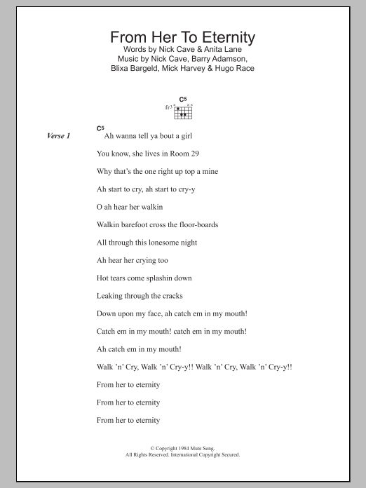 From Her To Eternity Sheet Music | Nick Cave | Lyrics & Chords