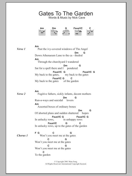 Gates To The Garden Sheet Music Nick Cave Lyrics Chords