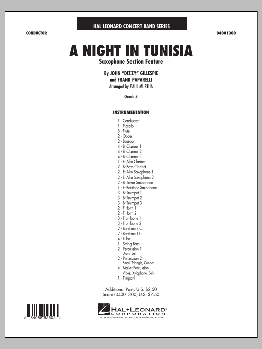 A Night In Tunisia (Saxophone Section Feature) (COMPLETE) sheet music for concert band by Paul Murtha, Dizzy Gillespie and Frank Paparelli. Score Image Preview.