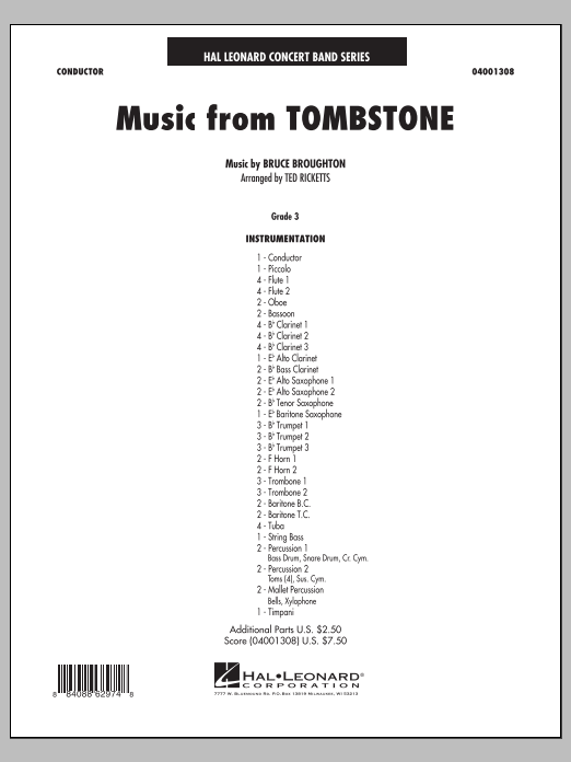 Music From Tombstone (COMPLETE) sheet music for concert band by Bruce Broughton and Ted Ricketts. Score Image Preview.