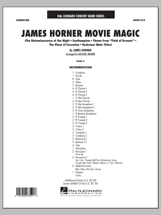 James Horner Movie Magic (COMPLETE) sheet music for concert band by Michael Brown and James Horner. Score Image Preview.