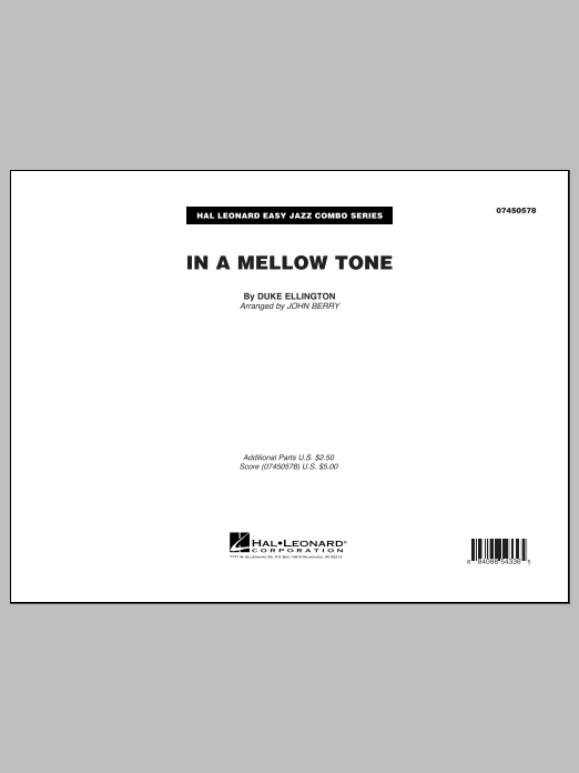 In A Mellow Tone (COMPLETE) sheet music for jazz band by Duke Ellington and John Berry. Score Image Preview.