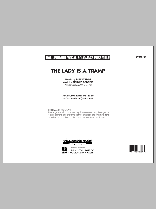 The Lady Is A Tramp (COMPLETE) sheet music for jazz band by Richard Rodgers, Lorenz Hart and Mark Taylor. Score Image Preview.