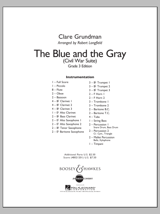 The Blue And The Gray (Young Band Edition) (COMPLETE) sheet music for concert band by Robert Longfield and Clare Grundman. Score Image Preview.