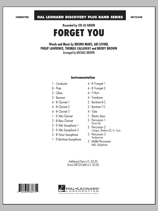 Forget You (COMPLETE) sheet music for concert band by Michael Brown, Ari Levine, Brody Brown, Bruno Mars, Cee Lo Green, Philip Lawrence and Thomas Callaway. Score Image Preview.