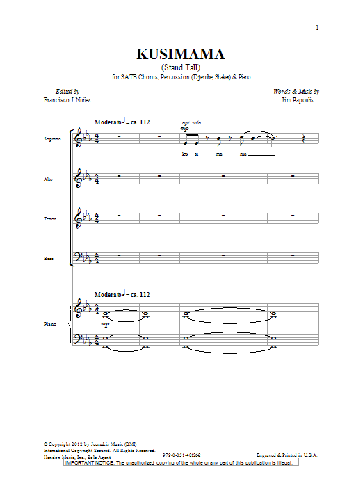 Kusimama Stand Tall Sheet Music Direct