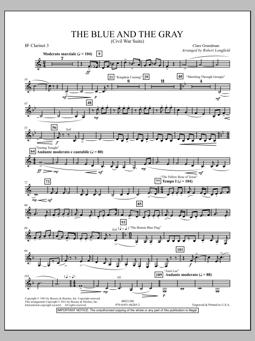 The Blue And The Gray (Young Band Edition) - Bb Clarinet 3 Sheet Music
