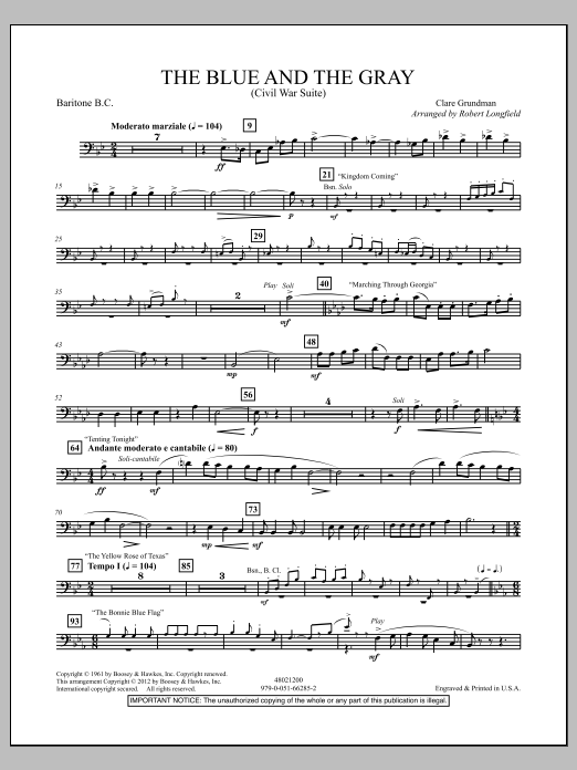 The Blue And The Gray (Young Band Edition) - Baritone B.C. Sheet Music