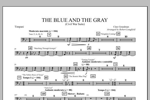 The Blue And The Gray (Young Band Edition) - Timpani Sheet Music