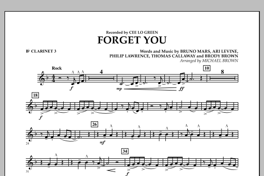 Forget You - Bb Clarinet 3 (Concert Band)
