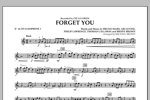Forget You - Eb Alto Saxophone 1 (Concert Band)