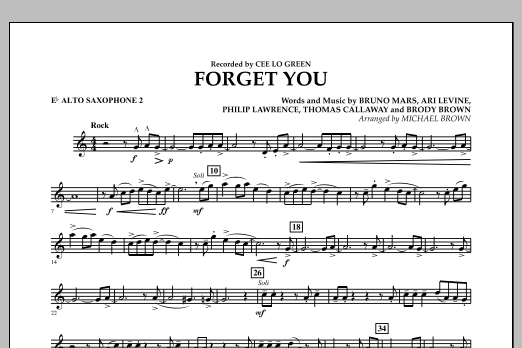 Forget You - Eb Alto Saxophone 2 (Concert Band)