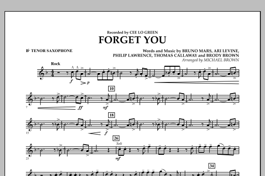 Forget You - Bb Tenor Saxophone (Concert Band)