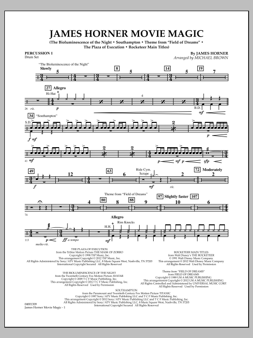 James Horner Movie Magic - Percussion 1 (Concert Band)