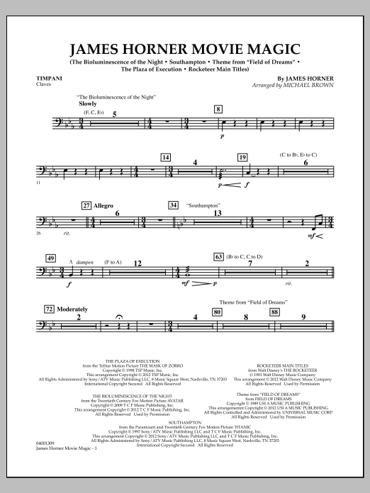 James Horner Movie Magic - Timpani (Concert Band)