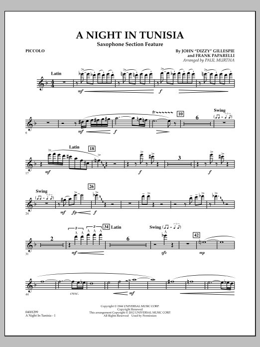 A Night In Tunisia (Saxophone Section Feature) - Piccolo (Concert Band)