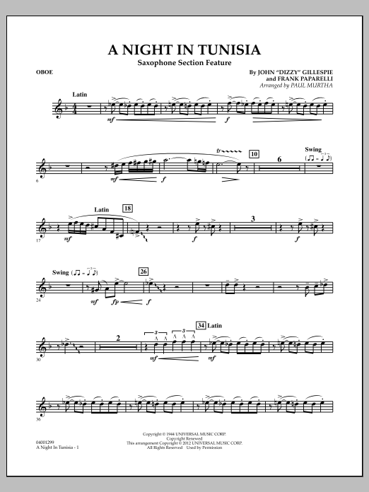 A Night In Tunisia (Saxophone Section Feature) - Oboe (Concert Band)