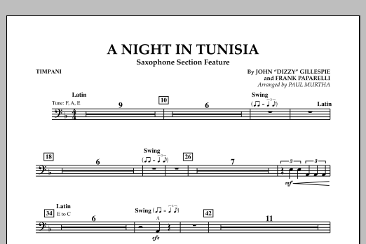 A Night In Tunisia (Saxophone Section Feature) - Timpani (Concert Band)