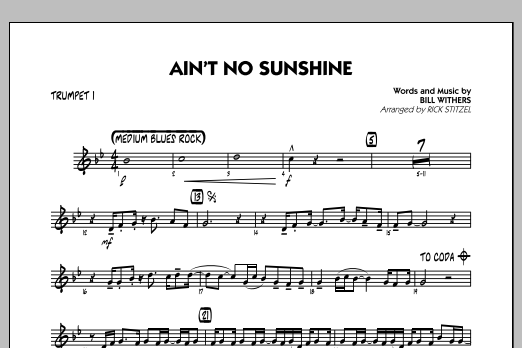 Aint No Sunshine Trumpet 1 At Stantons Sheet Music