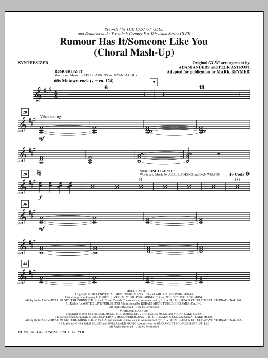 Rumour Has It / Someone Like You (complete set of parts) sheet music for orchestra/band (Rhythm) by Mark Brymer, Adam Anders, Adele, Adele Adkins, Dan Wilson, Glee Cast, Miscellaneous, Peer Astrom and Ryan Tedder. Score Image Preview.