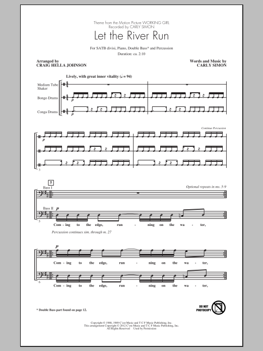 Partition chorale Let The River Run de Carly Simon - SATB