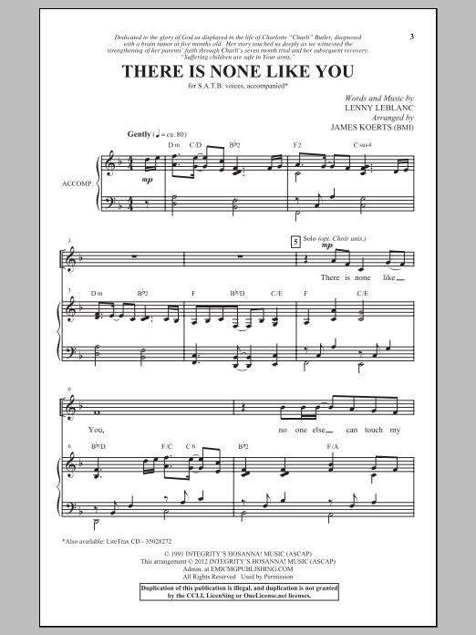 There Is None Like You (SATB Choir)
