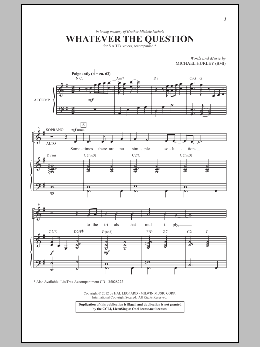 Whatever The Question Sheet Music