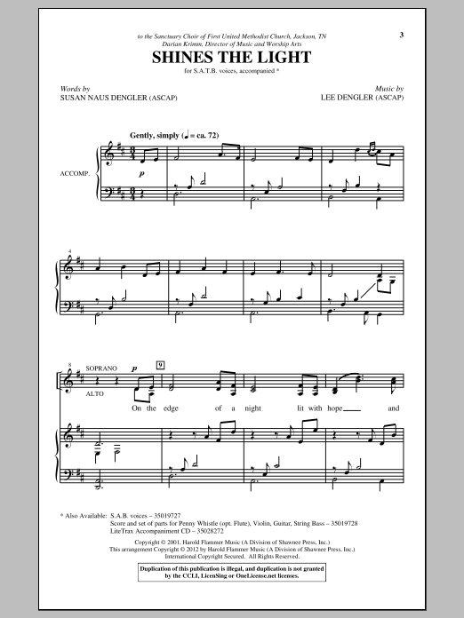 Partition chorale Shines The Light de Lee Dengler - SATB