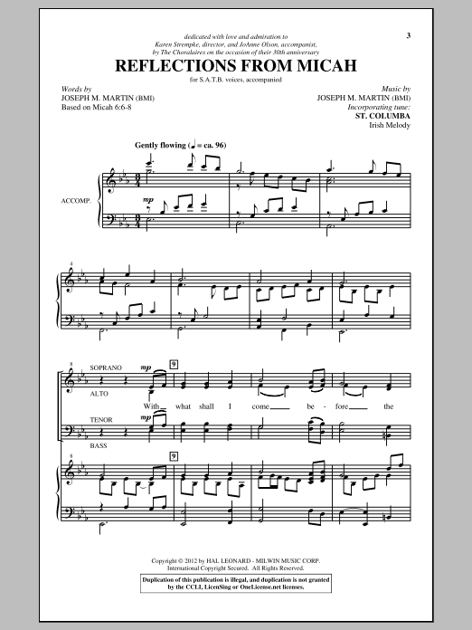 Partition chorale Reflections From Micah de Joseph M. Martin - SATB