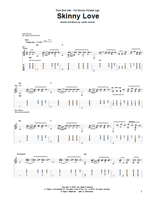 Tablature guitare Skinny Love de Bon Iver - Tablature Guitare
