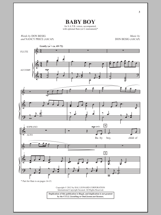 Partition chorale Baby Boy de Don Besig - SATB