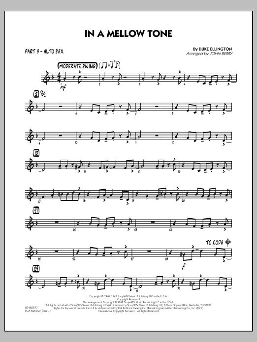 In A Mellow Tone - Part 3 - Eb Alto Sax (Jazz Ensemble)
