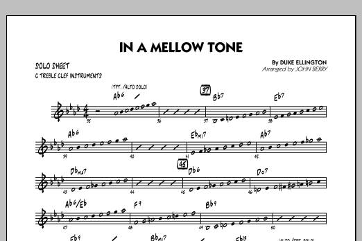 In A Mellow Tone - C Solo Sheet (Jazz Ensemble)