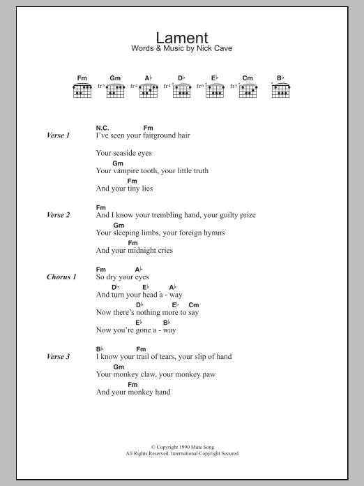Lament | Nick Cave | Lyrics & Chords
