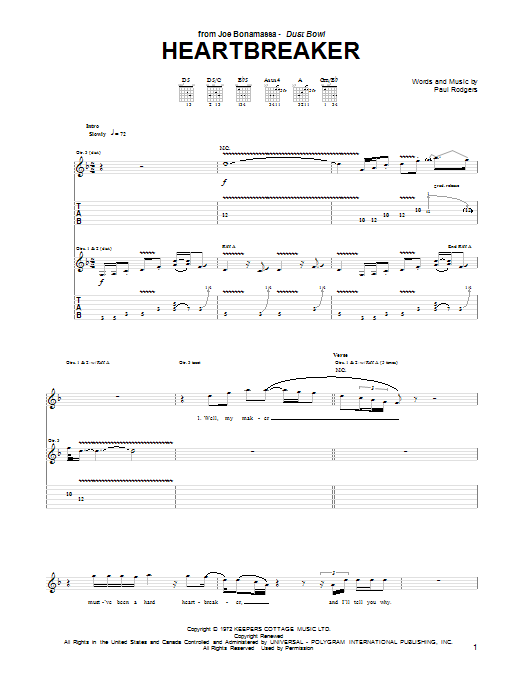 Heartbreaker Sheet Music