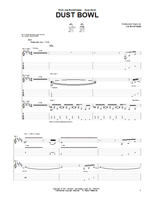 Tablature guitare Dust Bowl de Joe Bonamassa - Tablature Guitare