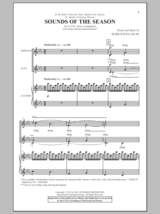 Partition chorale Sounds Of The Season de Mark Hayes - SATB