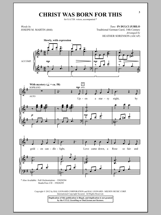 Partition chorale Christ Was Born For This de Heather Sorenson - SATB