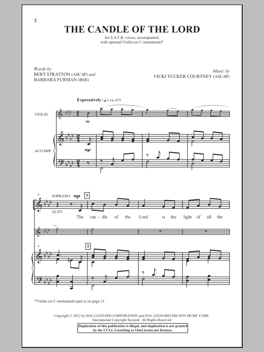 Partition chorale The Candle Of The Lord de Vicki Tucker Courtney - SATB