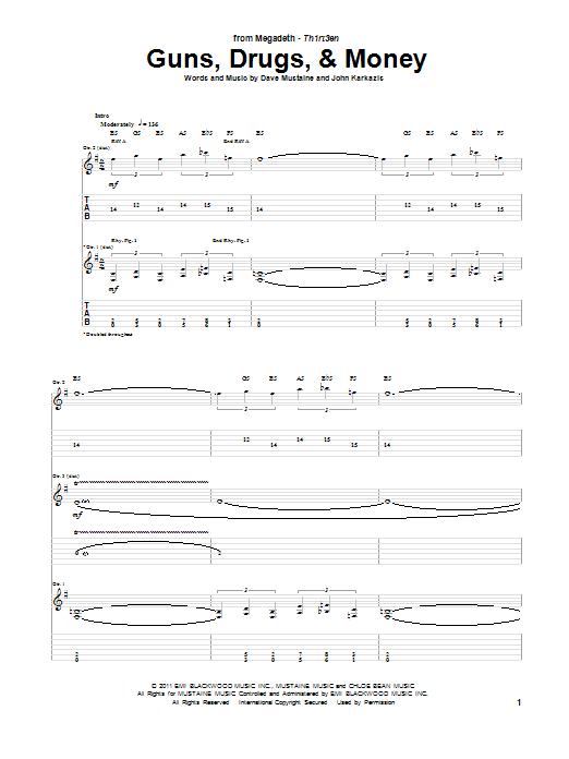 Tablature guitare Guns, Drugs, & Money de Megadeth - Tablature Guitare