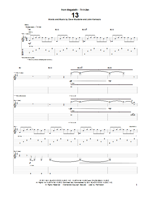 Tablature guitare 13 de Megadeth - Tablature Guitare