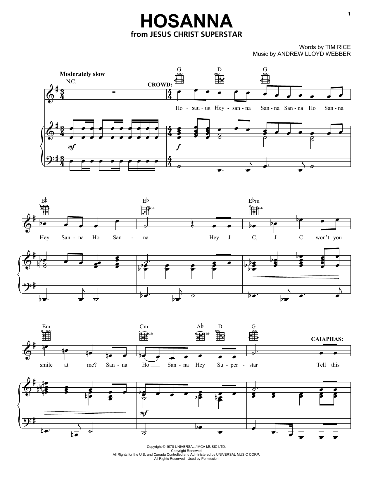 Hosanna (Piano, Vocal & Guitar (Right-Hand Melody))