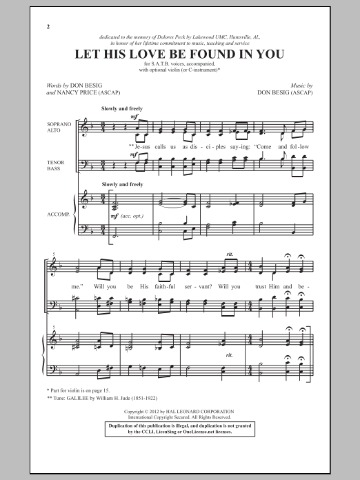 Let His Love Be Found In You Sheet Music