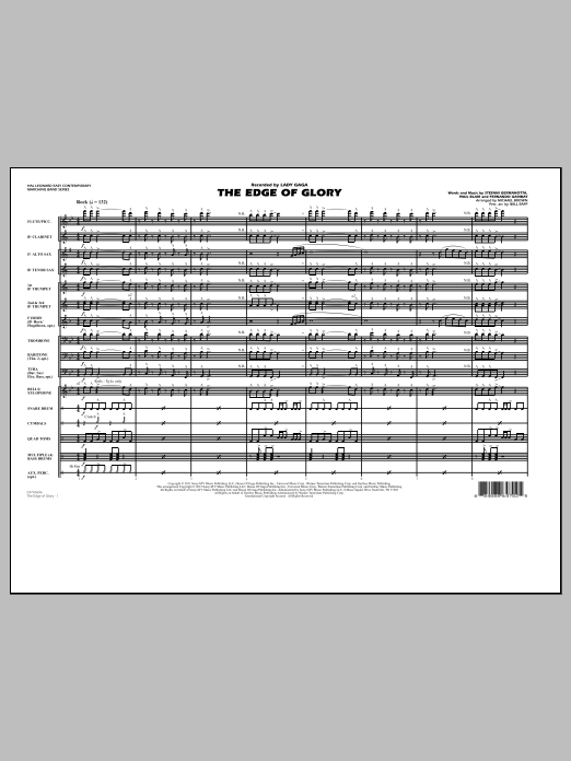 The Edge Of Glory (COMPLETE) sheet music for marching band by Michael Brown, Fernando Garibay, Lady Gaga, Paul Blair and Will Rapp. Score Image Preview.