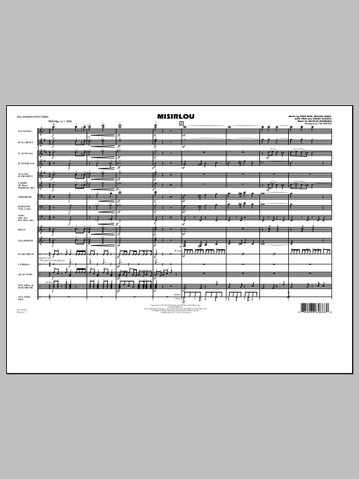 Misirlou (COMPLETE) sheet music for marching band by Tim Waters and Nicolas Roubanis. Score Image Preview.
